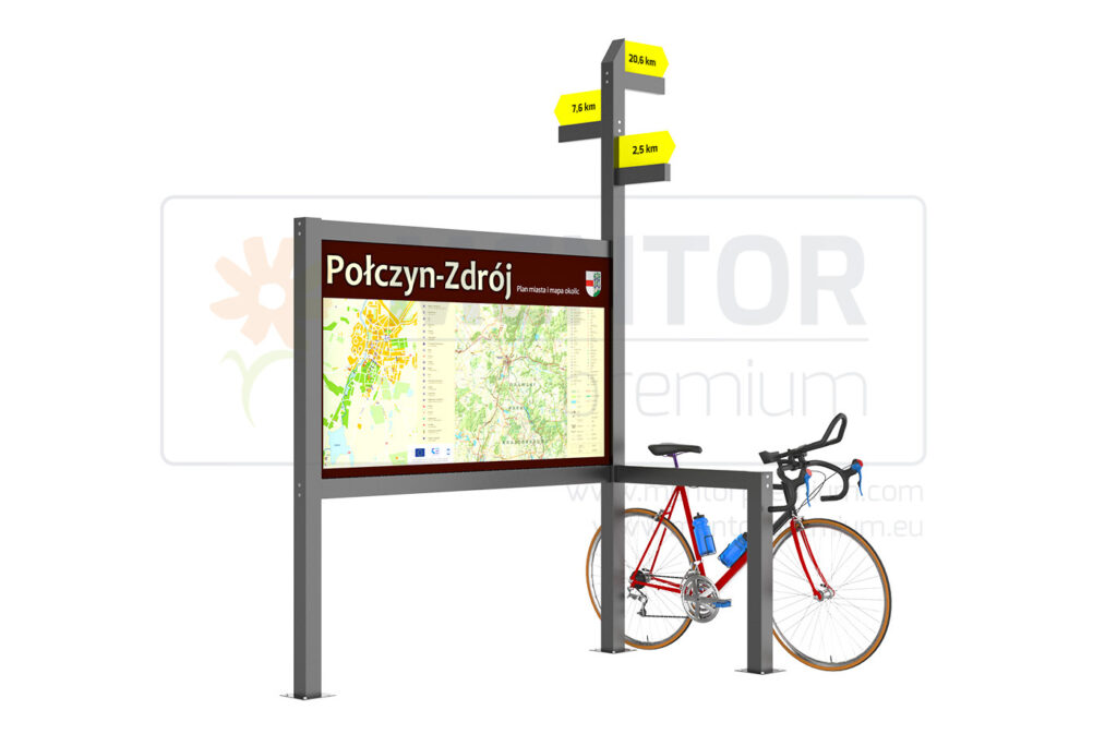 Doceo – Indicator with information board and bicycle stand